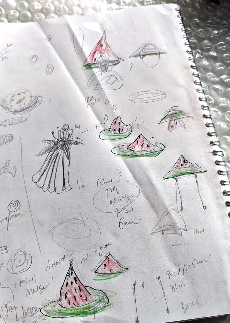 Sketches of Watermelon headwear