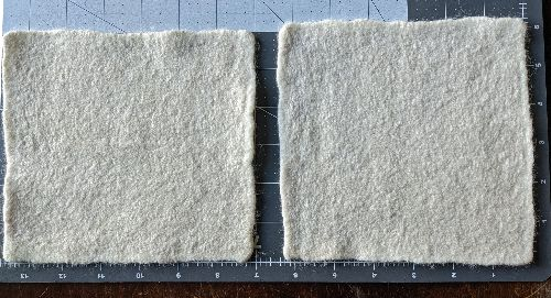 2 squares of felted paper