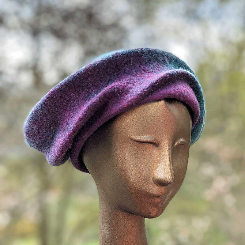 Undulating Blue-Green & Raspberry Hat