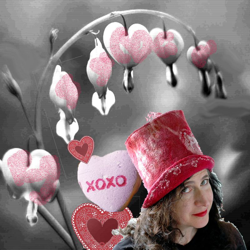 Valentine's inspired digital collage with hat and Bleeding Hearts flowers.