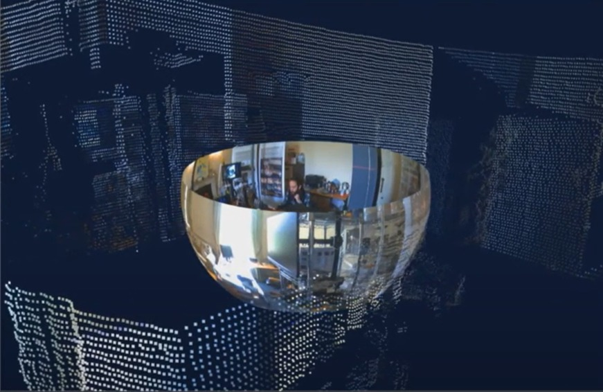 Output of the meshed panoramic camera and high res LiDAR