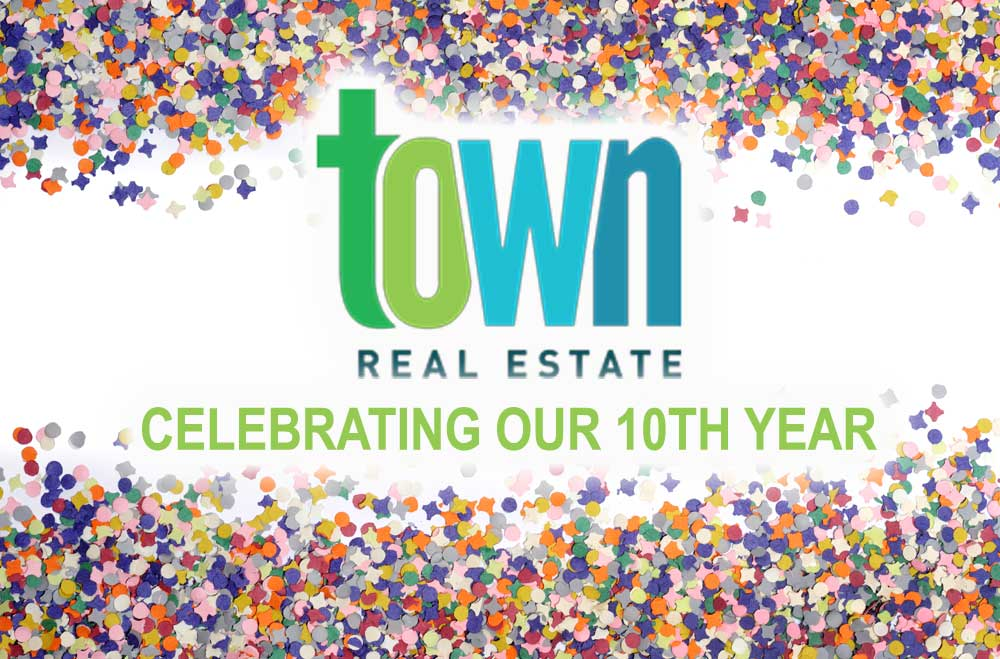 town real estate 10th anniversary logo
