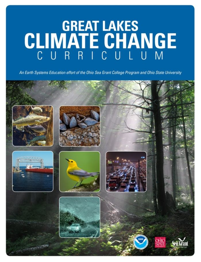 The cover of the Great Lakes Climate Change Curriculum, with a blue header and a misty forest image