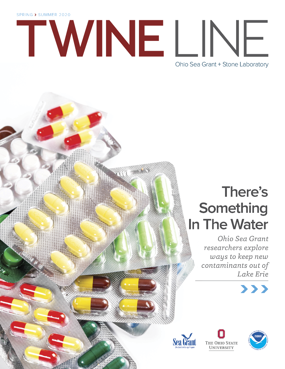 "The cover of a magazine, showing pill packets and the title ""There's Something in the Water"""