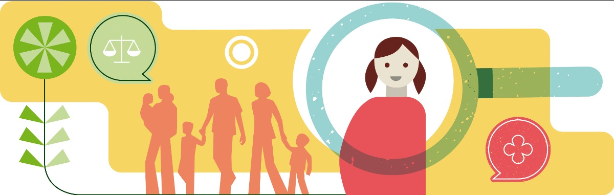 En illustration som visar ett barn och familjer