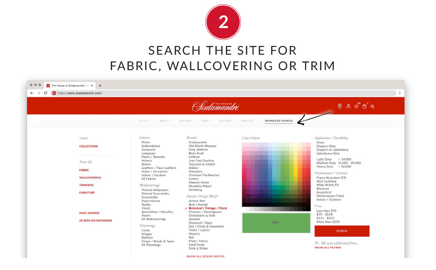 2. Search the site for fabric, wallcovering or trim