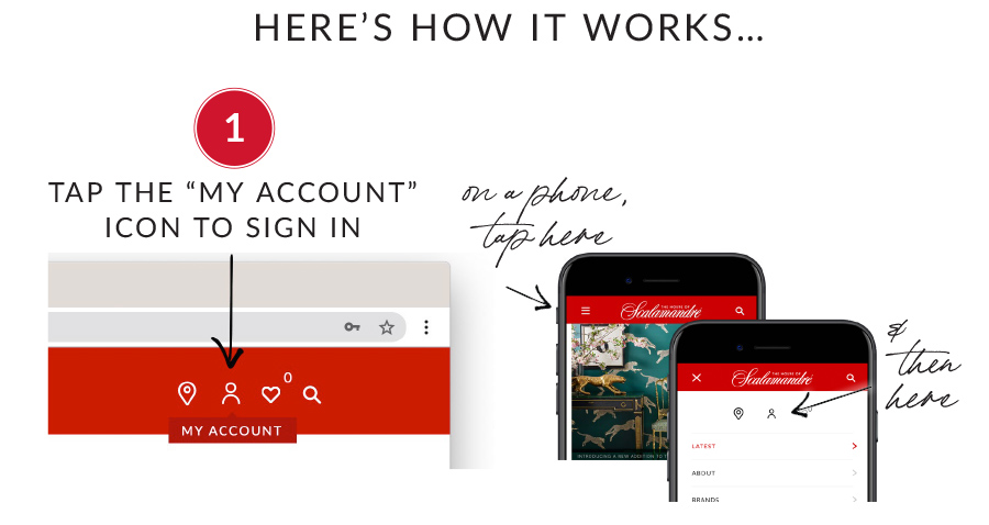 """Here's how it works: 1. Tap the """"My Account"""" icon to sign in"""
