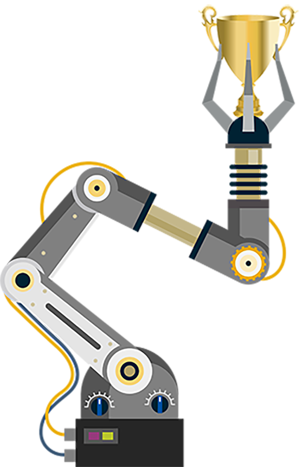 Industrial Robot with Trophy