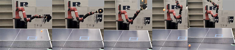 Frame-by-frame Sawyer Table Tennis Robot Policy Illustration