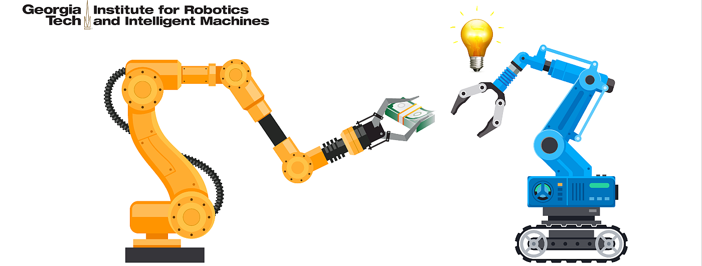 Robot handing money to another robot with idea lightbulb