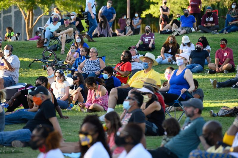 Attendees at the first annual Juneteenth celebration held at the Corbett Center Outdoor Stage.