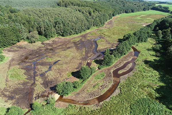 Aerial view of river restoration on Frith Beck