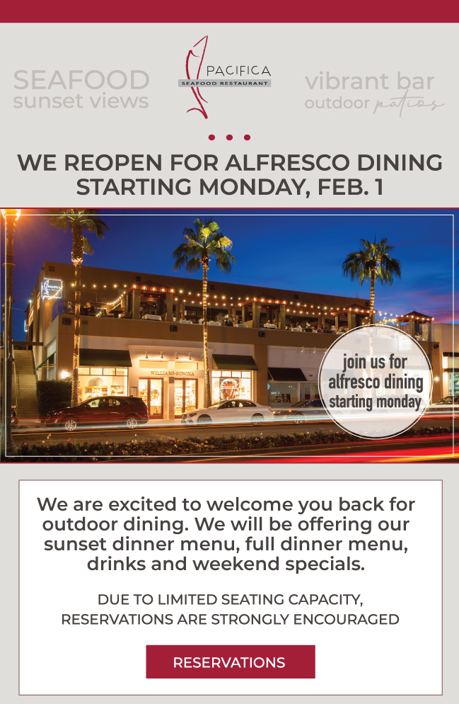 Now Reopened for Alfresco Outdoor Patio Dining at Pacifica Seafood Restaurant at The Gardens on El Paseo in Palm Desert