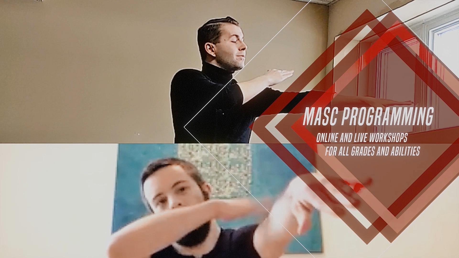"""A screenshot of two Propeller Dance instructors giving a workshop with """"MASC Programming"""" text overlaid."""