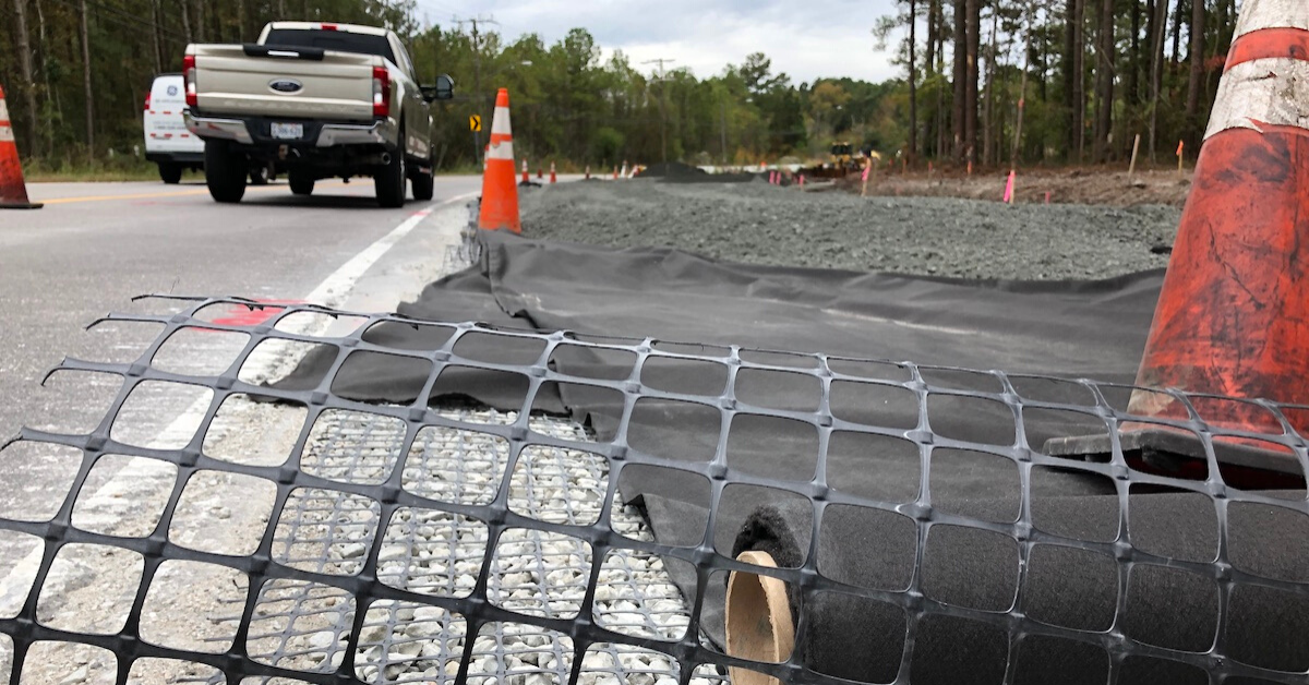 Geogrid and Nonwoven Geotextile Fabric on site in Virginia Beach