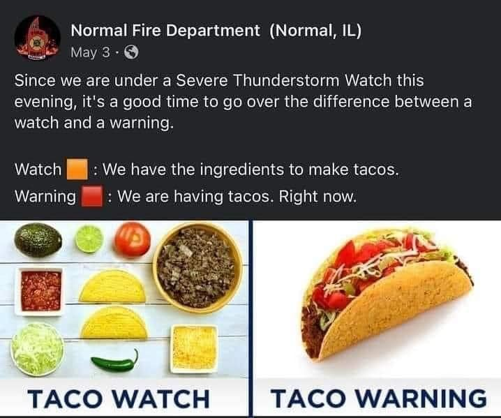 Taco Watch: We have the ingredients fo make tacos. Taco Warning: We are having tacoes. Right now.