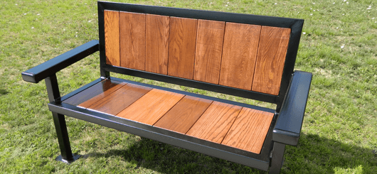 Bench made from repurposed wood