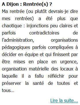 A Dijon : Rentrée(s) ?