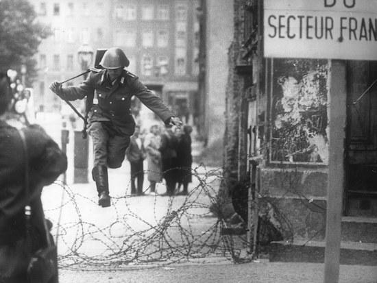 Border guard jumps