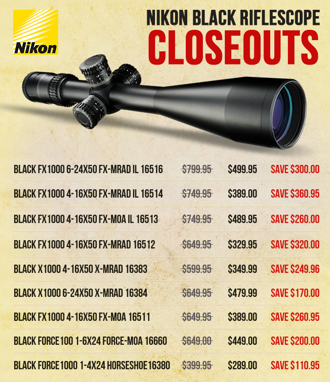 Nikon BLACK Riflescope CLOSEOUTS