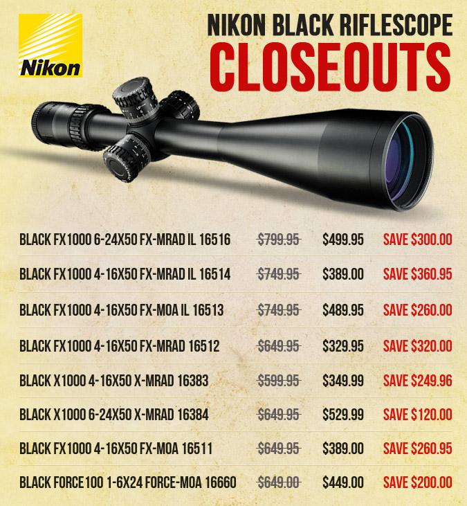 Nikon Black Closeouts - Last few stocks left!