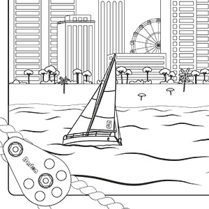 Racing Yachts Colouring Sheet