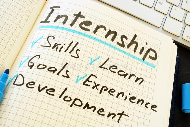 Internship check list: Skills, learn, goals, experience, development