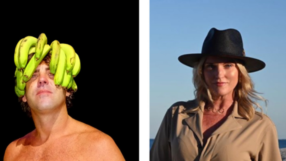 Image of Carlos Betancourt on the left and Brandi Reddick on the right.  Carlos is shirtless against a black background and wears a bunch of real bananas on his head and Brandi has a cowboy had and beige open necked shirt.