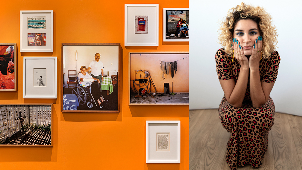 Two images: On the right Itsel kneeling in a leopard print dress and green nails, on the right, family photos and other images on a bright orange wall. No words.