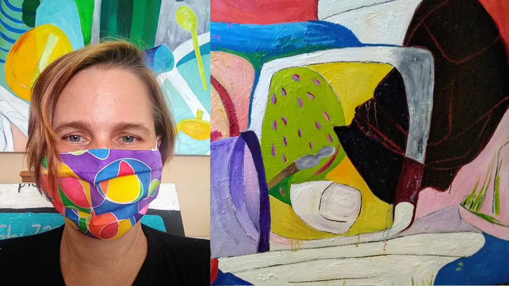 Image of Kim Moore on the left wearing a colorful handpainted mask. On the right is an image of a still life also brightly colored and abstract.