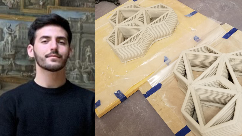 Image of Matteus Stancati in front of a rennaissance painting on the left and on the right images of his 3D prints made with a robotic arm. no words