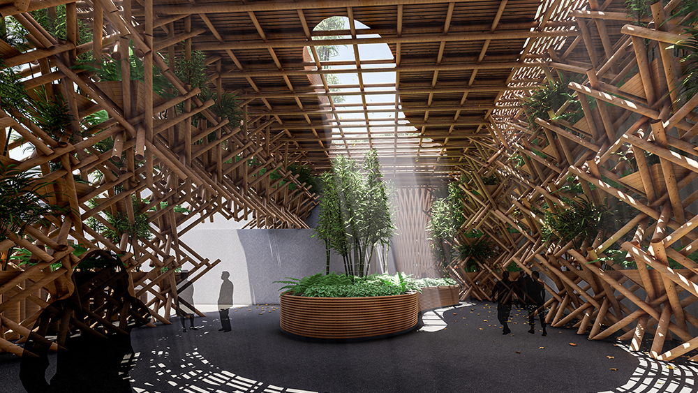 Image of an interior space created with large bamboo members and green plants growing inside it.