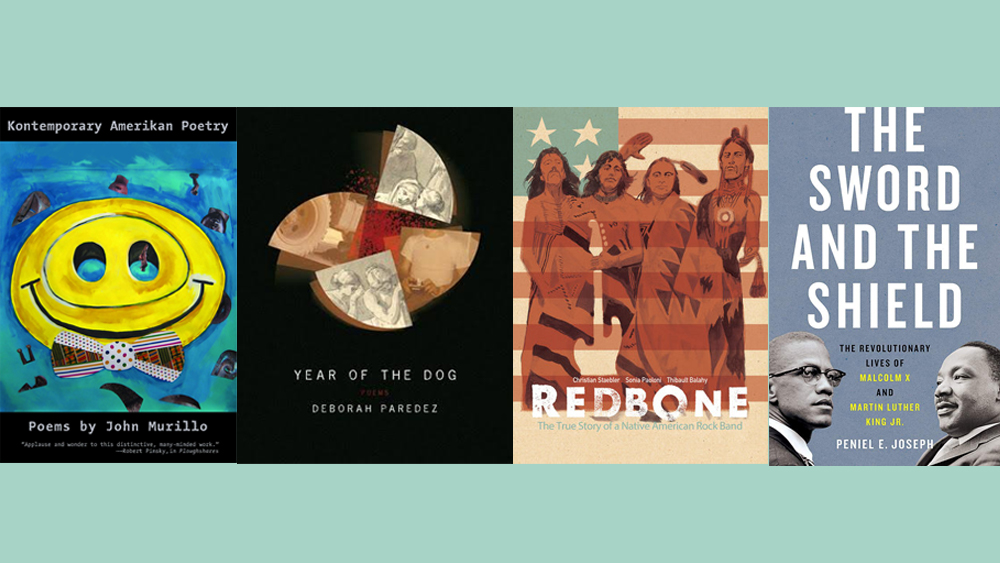 Images of four book covers side by side. Left to right: Kontemporary Amerikan Poetry; Year of the Dog; Redbone; The Sword and the Shield