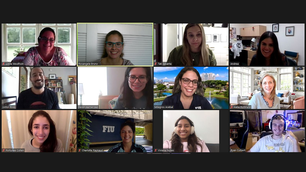 Image of a Zoom call screen with twelve faculty staff and students in boxes Hollywood Squares style.