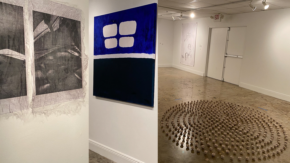 Image in three parts.  On the left a photo of black and white drawings covered in gauze, in the middel an abstract painting in blue, white and black, and on the right a sculpture in concentric circles of objects on the floor..