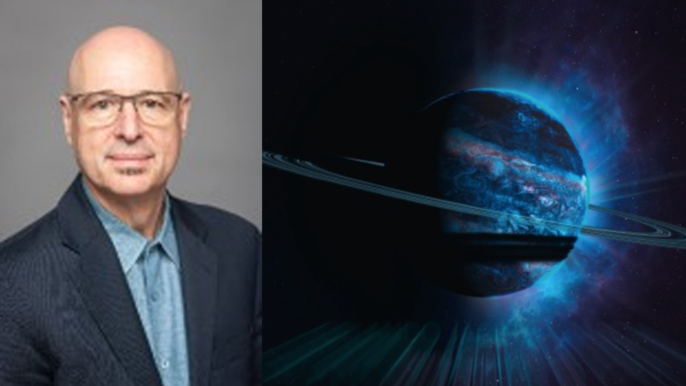Headshot of Orlando on the left in blue suit against a gray background.  On right, image of a planet with rings like Saturn and rays of blue light eminating from it against dark space beyond.