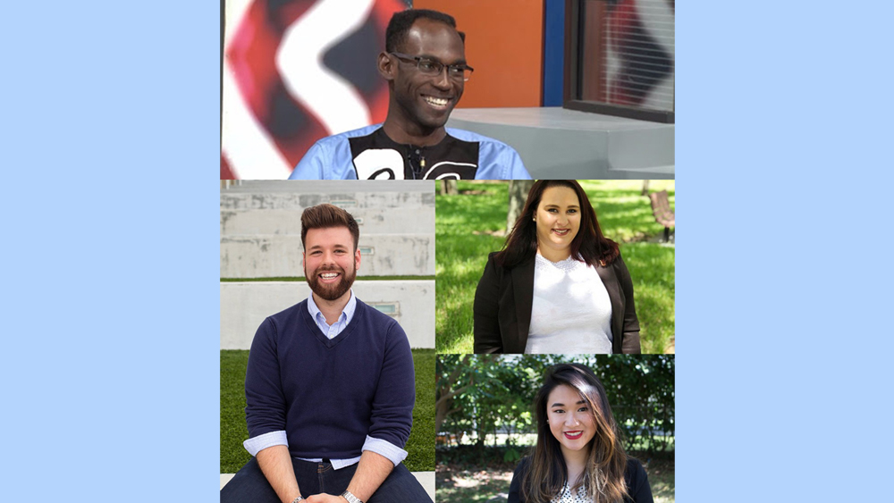 Image of four students, two men, two women, of various apparent races, all smiling. the images on on a light blue background. No words