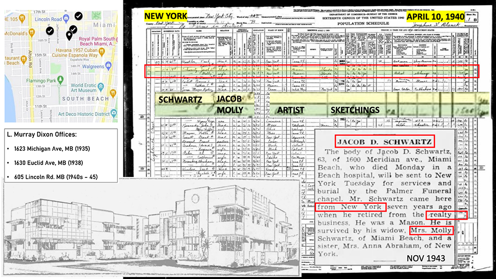 Collage of images and materials: Top left Maps.com list of historic architect L. Murray Dixon's offices on Miami Beach; Top right: 1940 census page with tenant data for Jacob Schwartz; Lower Right; obituary for tenant of 1600 Meridian Avenue, Joselph Schwartz; and lower right, first published image of 1600 Meridian Avenue.