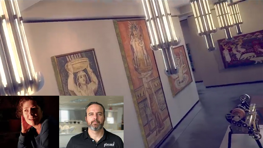 Tilted image of a large space with historic lights lit up, huge images on the walls and objects on the floor.  Images in the corner of headshots of Tanya and Carlos