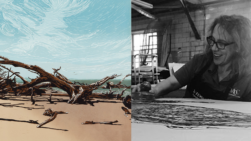 Image of a colorful painted scene of driftwood on a beach on the left.  Jennifer in her studio painting on the right.