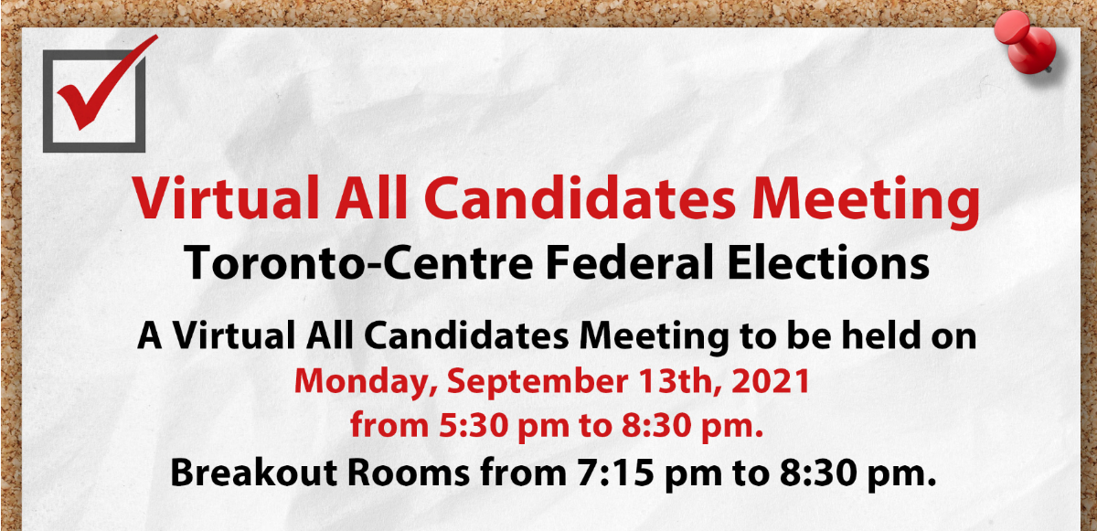 Virtual All Candidates Meeting with all Toronto-Centre Members of Parliament