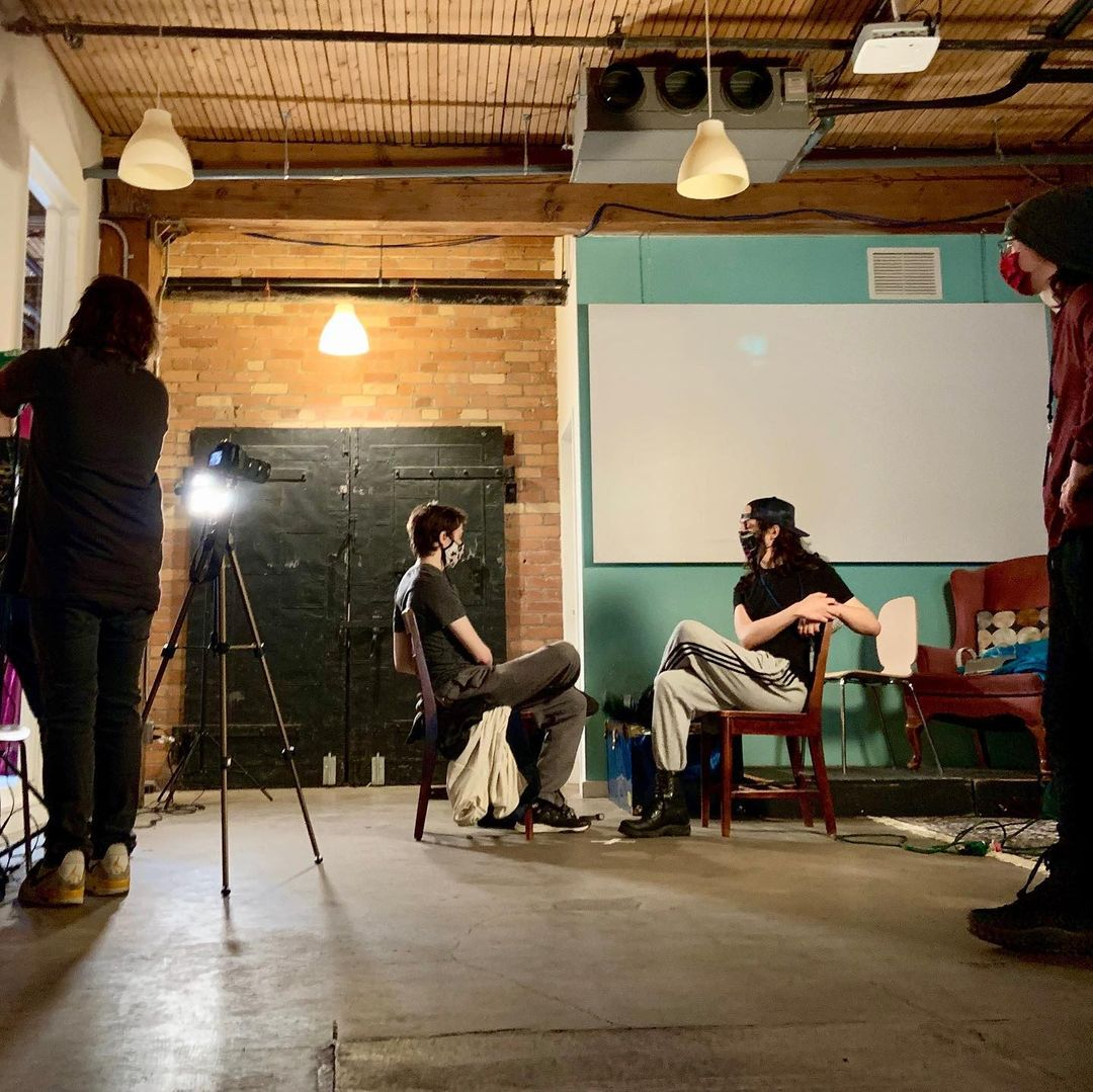 City-as-School-Toronto film and video students exploring lighting techniques in the CSI Annex Garage.