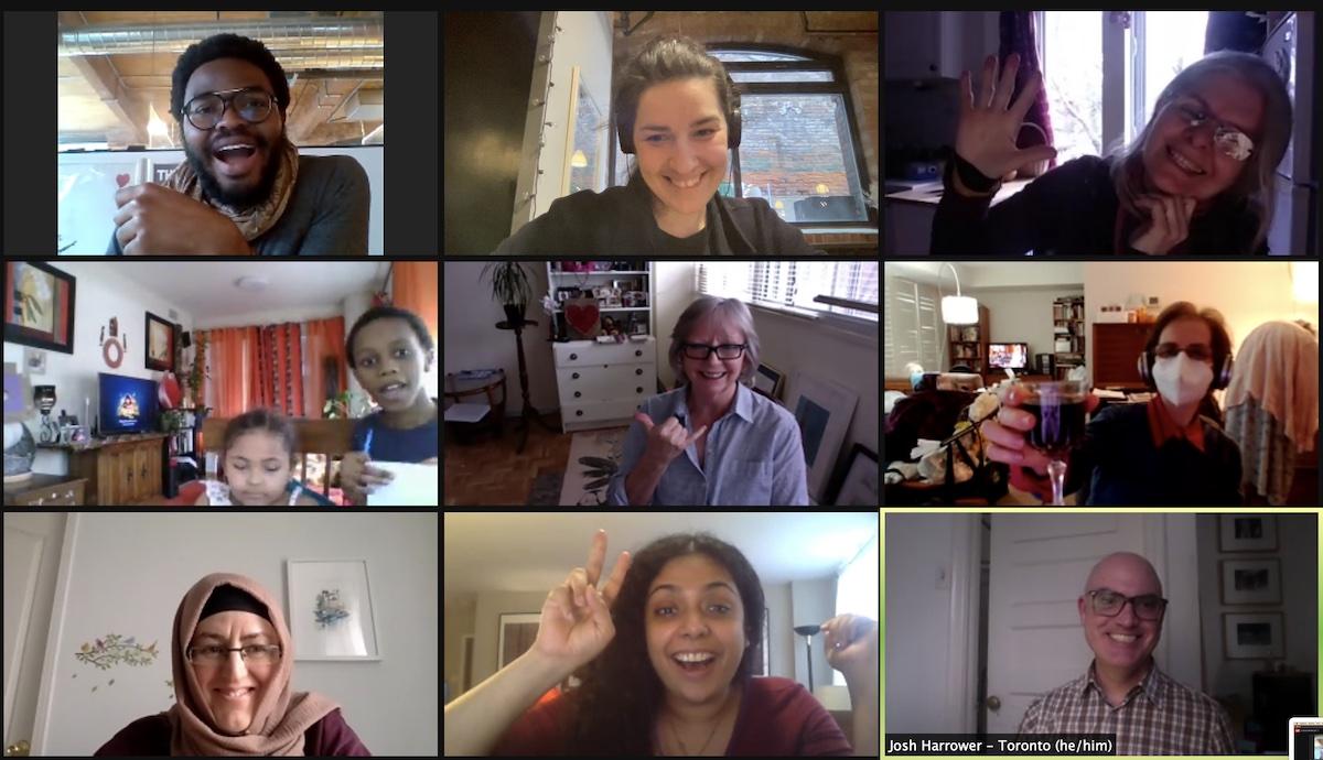 Zoom screenshot of Art Club members smiling at the camera.