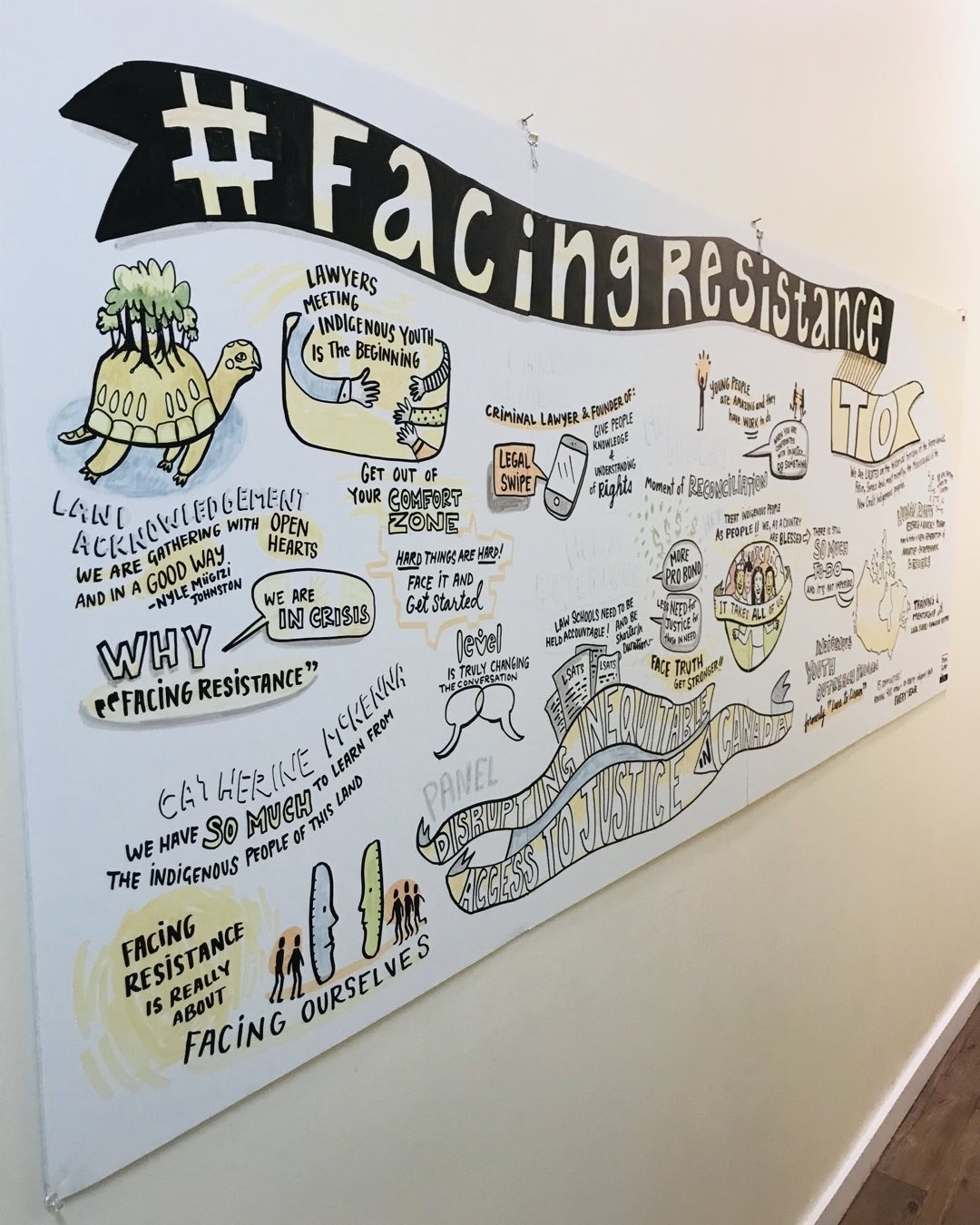 Graphic recording from a panel on disrupting inequitable access to justice in Canada