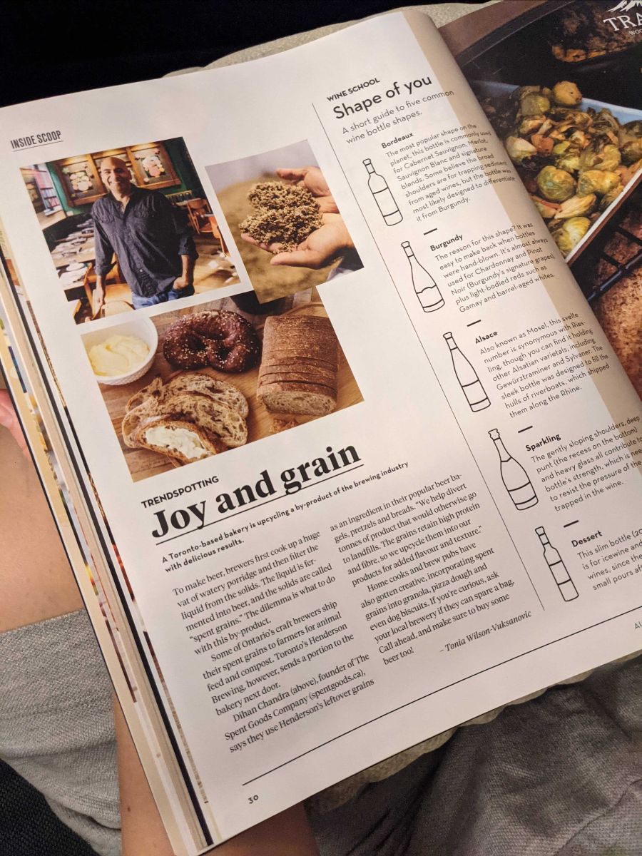 Photo of The Spent Goods Company's feature in LCBO's Fall issue of Food and Drink.