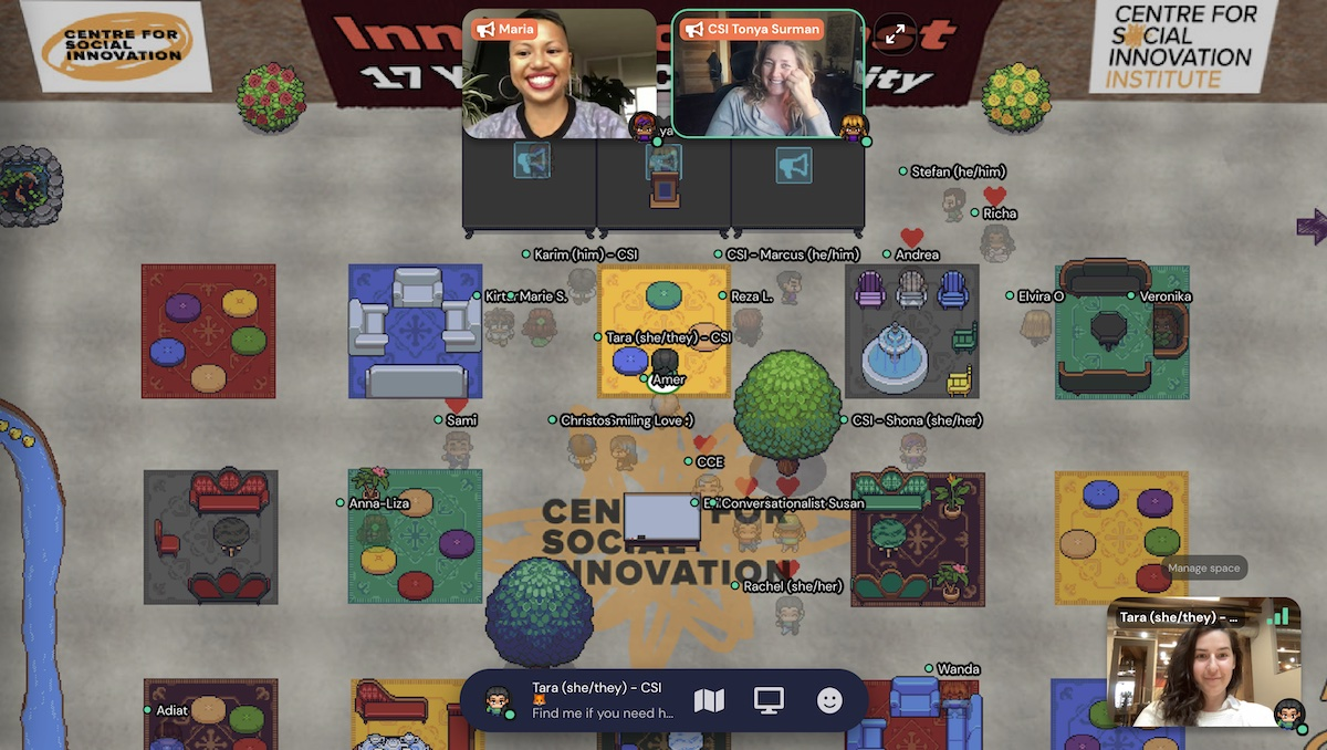 Screenshot from CSI's Innovators Toast in our virtual space.