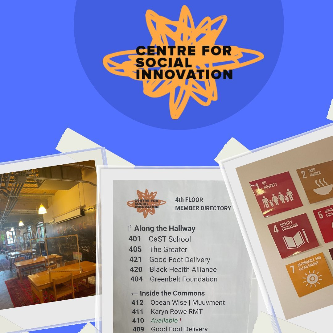 Collage of photos from CSI Annex. From left: hot desk space in The Garage, fourth floor member directory, placards of the Sustainable Development Goals.
