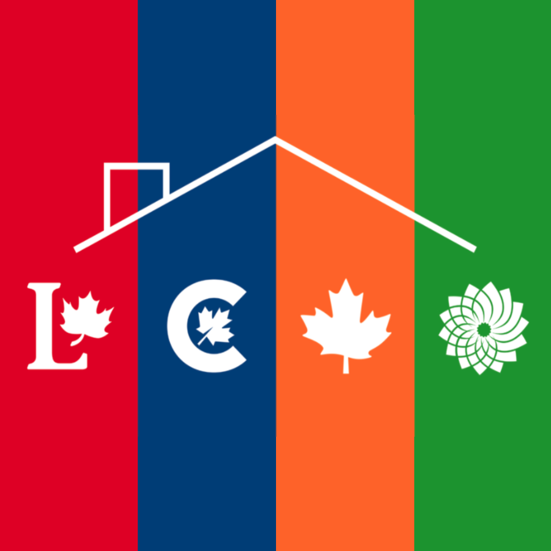 Logos of the Liberal Party, Conservative Party, New Democratic Party, and Green Party under an illustrated roof