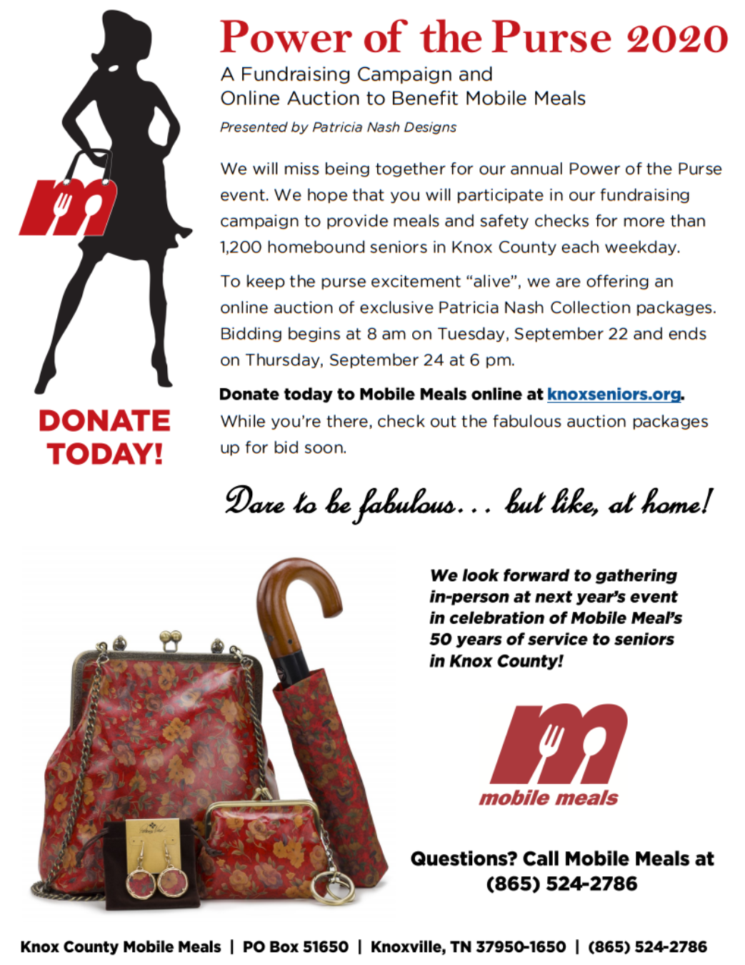Mobile Meals Power of the Purse Fundraiser