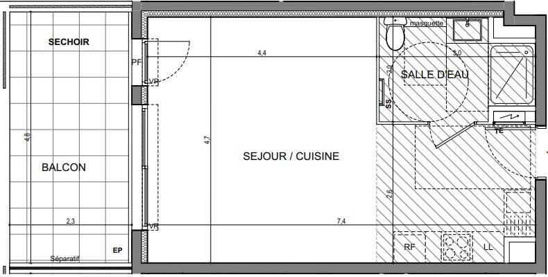 Exemple de Studio neuf sur Programme Vallauris